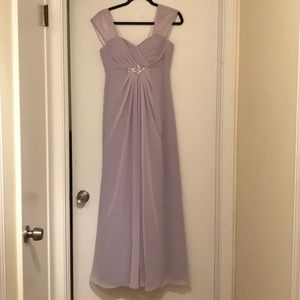 Levkoff purple cap sleeve gown. Size 4